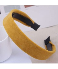Korean Fashion Solid Color Velvet Texture Women Hair Hoop - Yellow