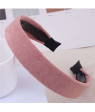 Korean Fashion Solid Color Velvet Texture Women Hair Hoop - Pink