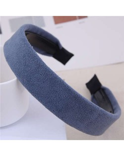 Korean Fashion Solid Color Velvet Texture Women Hair Hoop - Blue