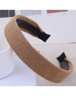 Korean Fashion Solid Color Velvet Texture Women Hair Hoop - Brown