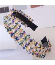 Weaving Pattern Cloth Design Korean Fashion Women Hair Hoop - Yellow