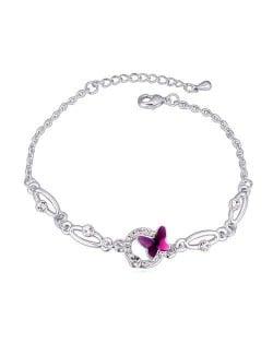 Butterfly and Hoop Decorated Austrian Crystal Graceful Women Bracelet - Purple