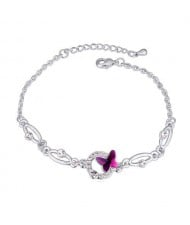 Butterfly and Hoop Decorated Austrian Crystal Graceful Women Bracelet - Purple