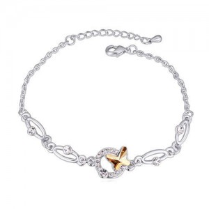 Butterfly and Hoop Decorated Austrian Crystal Graceful Women Bracelet - Golden