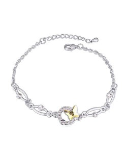 Butterfly and Hoop Decorated Austrian Crystal Graceful Women Bracelet - Light Yellow