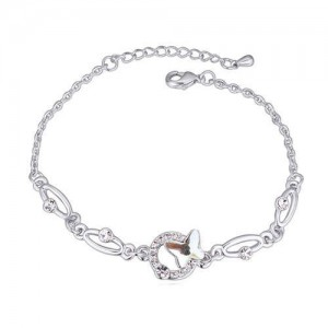 Butterfly and Hoop Decorated Austrian Crystal Graceful Women Bracelet - White