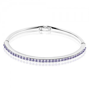 Austrian Crystal Embellished Slim Design Elegant Women Bangle - Violet