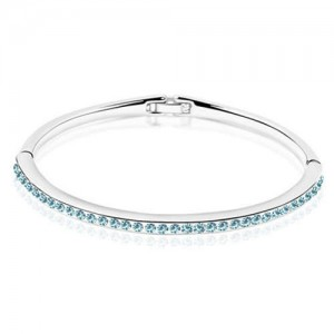 Austrian Crystal Embellished Slim Design Elegant Women Bangle - Aquamarine