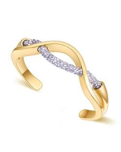 Elegant Curve Design Open-end Austrian Crystal Women Bangle - Golden and Silver
