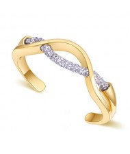 Elegant Curve Design Open-end Austrian Crystal Women Bangle - Golden and Silver