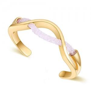 Elegant Curve Design Open-end Austrian Crystal Women Bangle - Golden and White