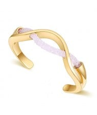 Elegant Curve Design Open-end Austrian Crystal Women Bangle - Golden and White