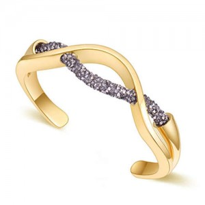Elegant Curve Design Open-end Austrian Crystal Women Bangle - Golden and Dark Gray
