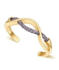 Elegant Curve Design Open-end Austrian Crystal Women Bangle - Golden and Dark Gray