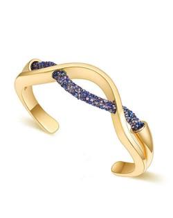 Elegant Curve Design Open-end Austrian Crystal Women Bangle - Golden and Metallic Blue
