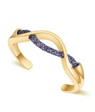 Elegant Curve Design Open-end Austrian Crystal Women Bangle - Golden and Metallic Blue