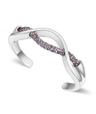 Elegant Curve Design Open-end Austrian Crystal Women Bangle - Platinum and Gray