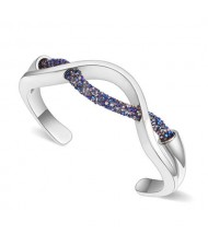 Elegant Curve Design Open-end Austrian Crystal Women Bangle - Platinum and Metallic Blue