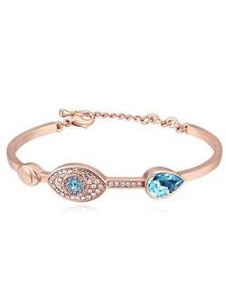 Graceful Eye and Heart Decorated Austrian Crystal Women Bangle - Rose Gold and Aquamarine