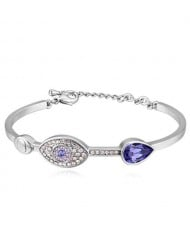 Graceful Eye and Heart Decorated Austrian Crystal Women Bangle - Platinum and Violet