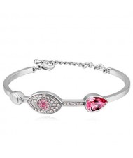 Graceful Eye and Heart Decorated Austrian Crystal Women Bangle - Platinum and Rose