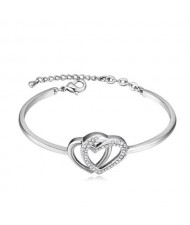 Austrian Crystal Embellished Twin Hearts Design Women Fashion Bangle - Platinum and White
