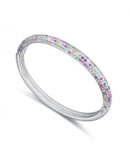 Austrian Crystal Embellished Graceful Fashion Women Bangle - Multicolor