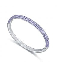 Austrian Crystal Embellished Graceful Fashion Women Bangle - Violet