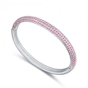 Austrian Crystal Embellished Graceful Fashion Women Bangle - Light Rose