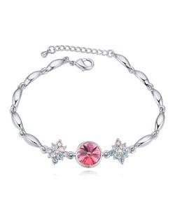 Austrian Crystal Leaves and Lotus Design Elegant Women Bangle - Violet
