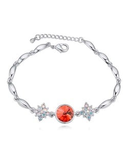 Austrian Crystal Leaves and Lotus Design Elegant Women Bangle - Red