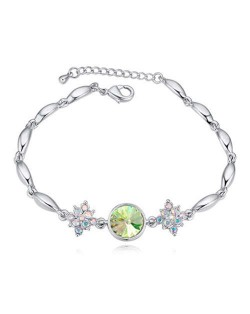 Austrian Crystal Leaves and Lotus Design Elegant Women Bangle - Green