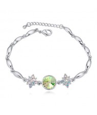 Austrian Crystal Leaves and Lotus Design Elegant Women Bangle - Green