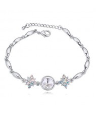 Austrian Crystal Leaves and Lotus Design Elegant Women Bangle - White