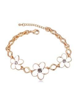 Austrian Crystal Embellished Flowers Design Golden Women Bracelet - White