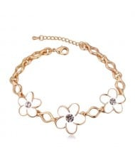 Austrian Crystal Embellished Flowers Design Golden Women Bracelet - White