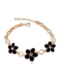 Austrian Crystal Embellished Flowers Design Golden Women Bracelet - Black