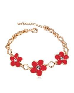 Austrian Crystal Embellished Flowers Design Golden Women Bracelet - Red