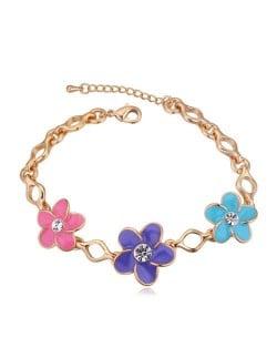 Austrian Crystal Embellished Flowers Design Golden Women Bracelet - Multicolor
