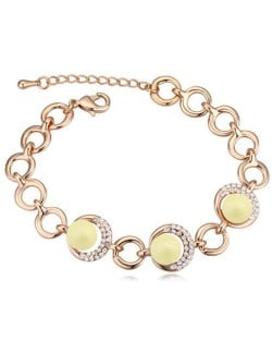 Austrian Crystal and Pearl Embellished Luxurious Style Women Bracelet - Yellow