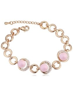 Austrian Crystal and Pearl Embellished Luxurious Style Women Bracelet - Pink