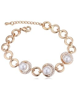 Austrian Crystal and Pearl Embellished Luxurious Style Women Bracelet - White