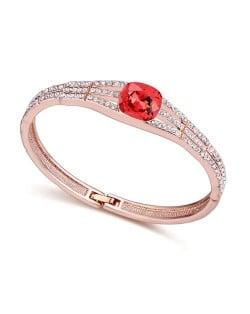 Austrian Crystal Decorated Glistening Design Women Bangle - Red