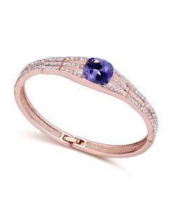Austrian Crystal Decorated Glistening Design Women Bangle - Purple