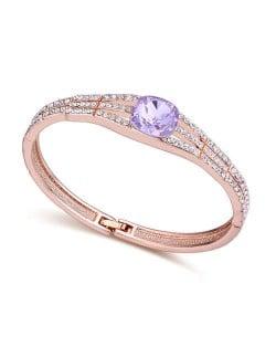 Austrian Crystal Decorated Glistening Design Women Bangle - Violet