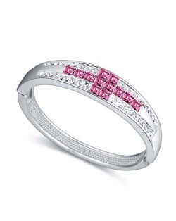 Cross Austrian Crystal Luxurious Design Women Bangle - Rose