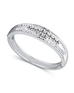 Cross Austrian Crystal Luxurious Design Women Bangle - White
