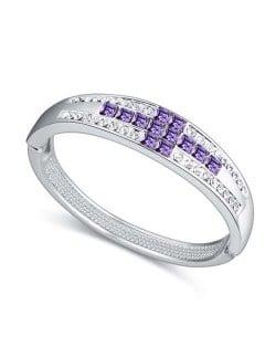 Cross Austrian Crystal Luxurious Design Women Bangle - Violet