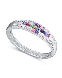 Cross Austrian Crystal Luxurious Design Women Bangle - Multicolor