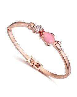 Twin Golden Fishes Design Austrian Crystal Women Bangle - Pink